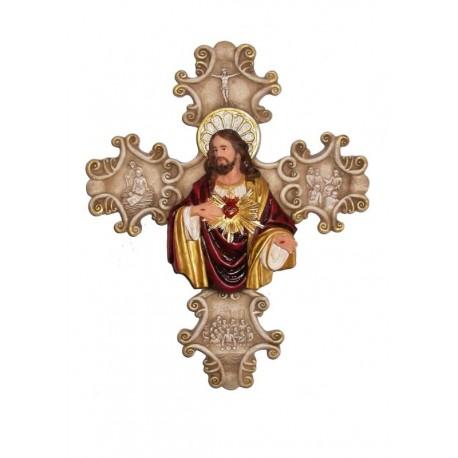 Sagrado Corazón de Jesús - Figura pintada a Mano - 33 cm