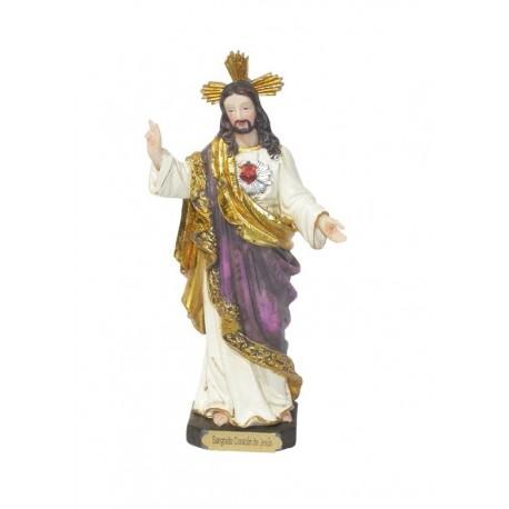 Sagrado Corazón de Jesús - Figura pintada a Mano - 17 cm