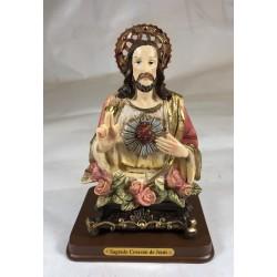Sagrado Corazón de Jesús - Figura pintada a Mano - 13 cm