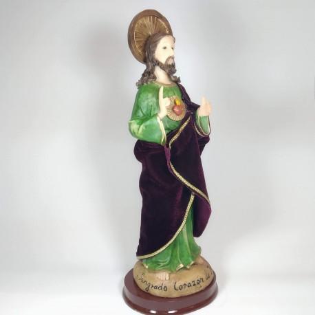 Sagrado Corazón de Jesús - Figura pintada a Mano - 30 cm